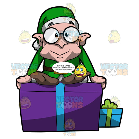 A Tiny Christmas Elf Sitting On Top Of A Present