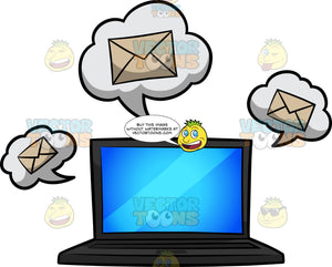 A Laptop Receiving Emails