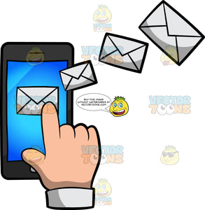 A Hand Sending An Email Using A Cellphone
