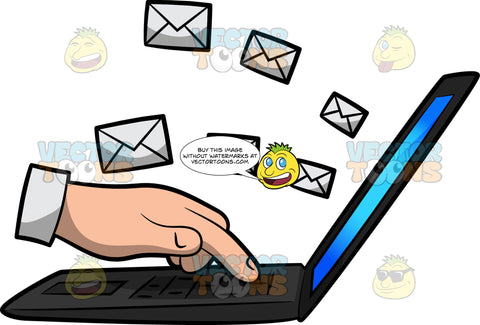 A Hand Sending An Email Using A Laptop