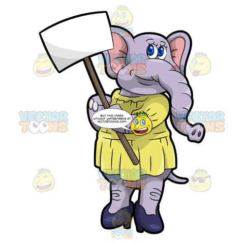 Emma The Elephant Holding A Sign Board