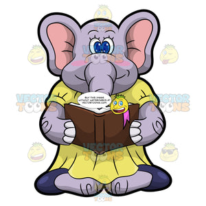 Emma The Elephant Reading A Book