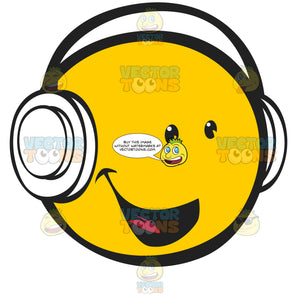 Yellow Smiling Happy Face Emoticon Wearing Headphones Facing Right
