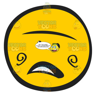 Yellow Doubtful Questioning Open Mouth Emoticon Looking Straight On