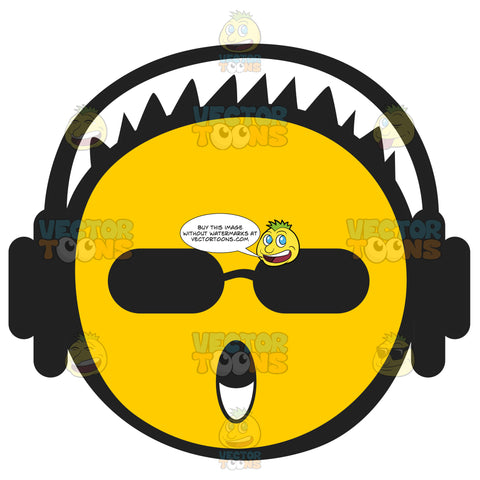 Spikey Short Haired Yellow Emoticon Wearing Headphones