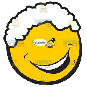 White Curly Hair Smiling Yellow Emoticon