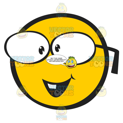 Geeky Glasses Wearing Nerdy Emoticon
