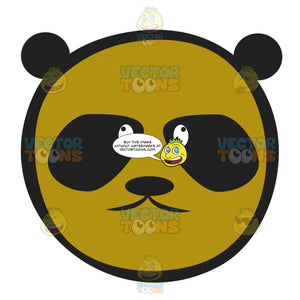 Brown Panda Bear Emoticon With Dark Black Eyes And Ears