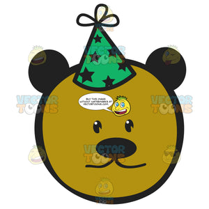 Green And Black Polka Dot Party Hat Wearing Brown Bear Smiley