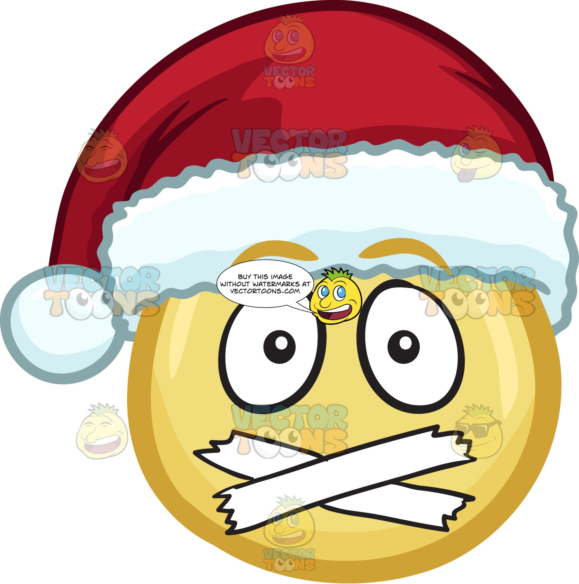 A Emoji Wearing A Santa Hat With Taped Mouth