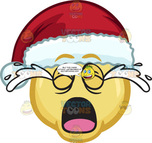 A Crying Emoji Wearing A Santa Hat