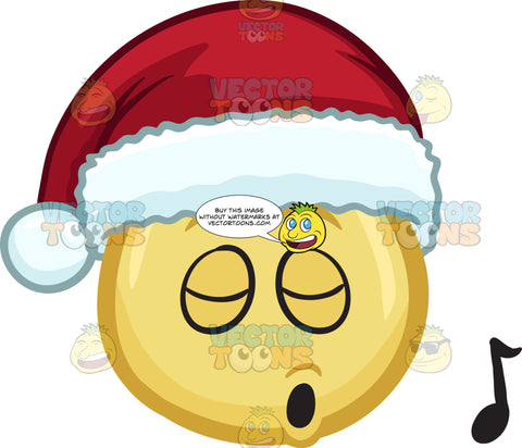 A Whistling Emoji Wearing A Santa Hat