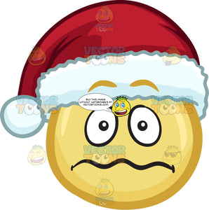 A Nervous Emoji Wearing A Santa Hat
