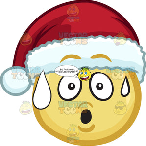 A Sweating Emoji Wearing A Santa Hat