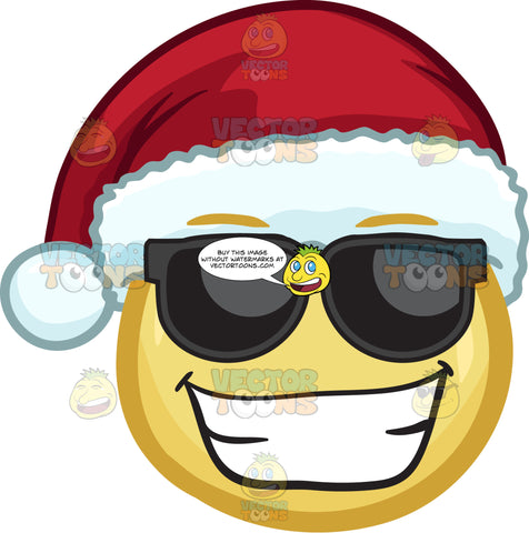 A Excited Emoji Wearing A Santa Hat With Shades