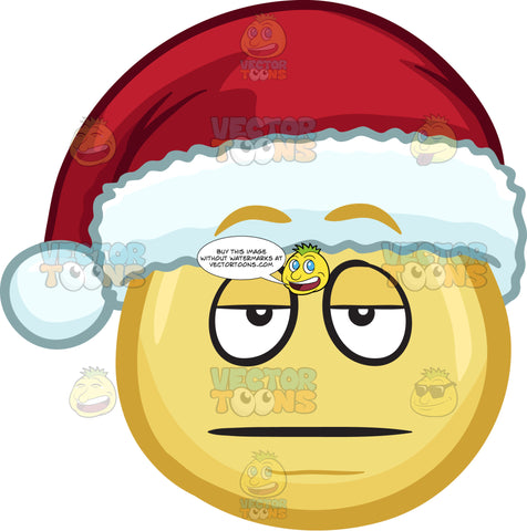 A Bored Emoji Wearing A Santa Hat
