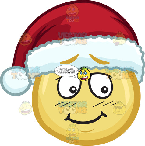 A Bashful Emoji Wearing A Santa Hat
