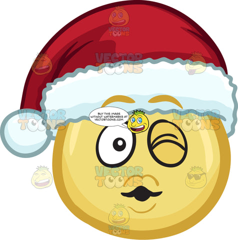A Winking Emoji Wearing A Santa Hat Blowing Some Kisses