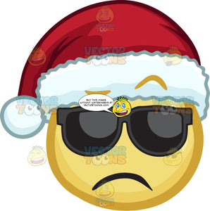 A Lonely Emoji Wearing A Santa Hat And Shades
