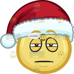 A Sleepy Emoji Wearing A Santa Hat