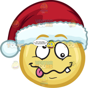 A Crazy Emoji Wearing A Santa Hat