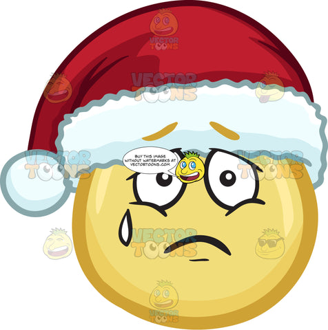 A Sorrowful Emoji Wearing A Santa Hat