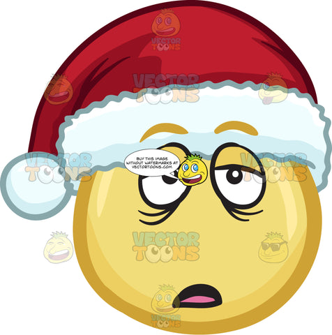 A Sleepy And Bored Emoji Wearing A Santa Hat