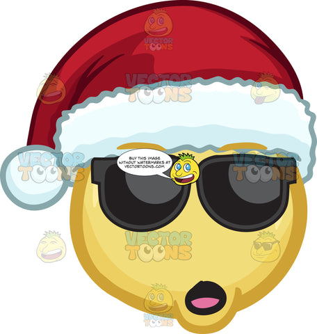 A Yawning Emoji Wearing A Santa Hat And Shades