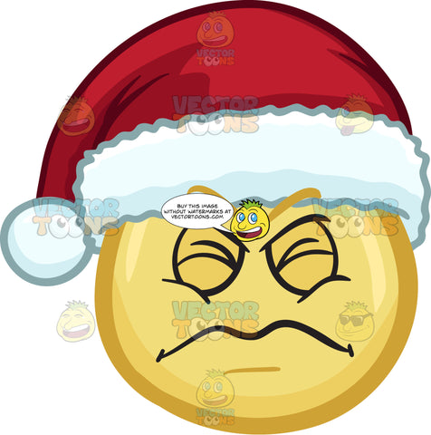 An Irritated Emoji Wearing A Santa Hat