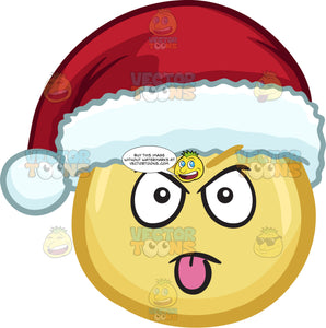 A Mocking Emoji Wearing A Santa Hat