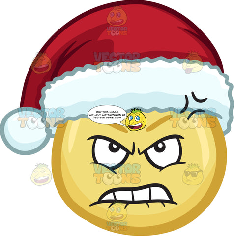 A Furious And Hurt Emoji Wearing A Santa Hat