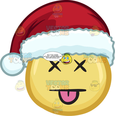 A Knocked Out Emoji Wearing A Santa Hat