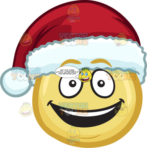 A Very Happy Emoji Wearing A Santa Hat