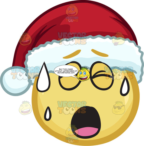 A Emoji Wearing A Santa Hat Sweating In Pain