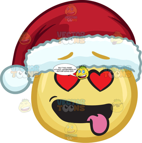 A Emoji Wearing A Santa Hat Looking Hopelessly In Love
