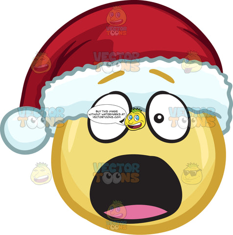 A Shocked And Aghast Emoji Wearing A Santa Hat