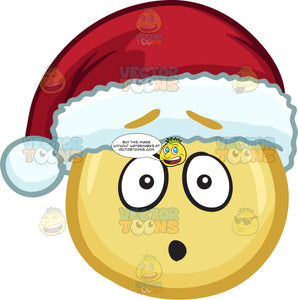 A Dumbfounded Emoji Wearing A Santa Hat