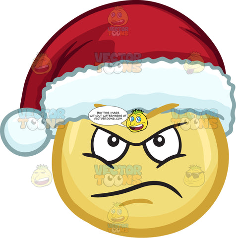 A Mad Emoji Wearing A Santa Hat