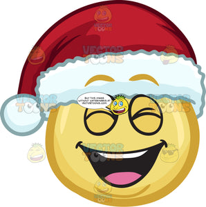 A Laughing Emoji Wearing A Santa Hat