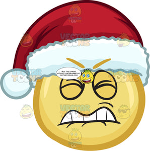 A Frustrated Emoji Wearing A Santa Hat
