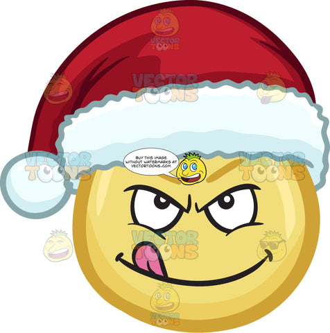 A Naughty Emoji Wearing A Santa Hat