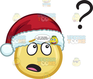 A Curious Emoji Wearing A Santa Hat