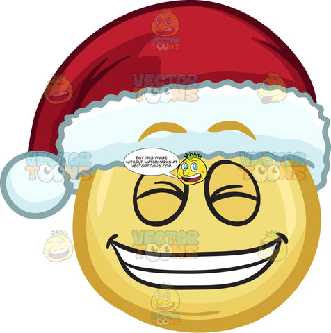 A Emoji Wearing A Santa Hat Grinning In Delight