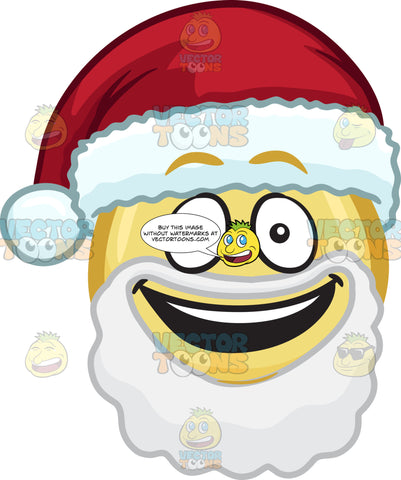 An Happy Emoji With Beard And Mustache And A Santa Hat