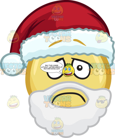 An Sad Emoji With Beard And Mustache And A Santa Hat