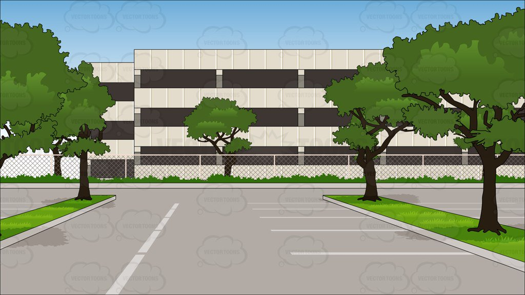Empty Parking Lot Of An Office Building Background