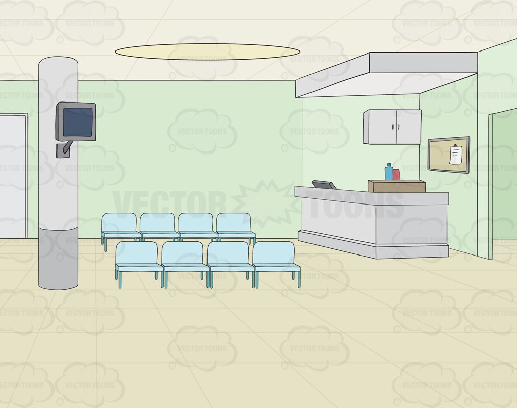 Empty Waiting Area In A Hospital Background Clipart