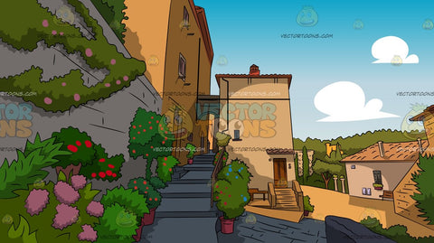 Entrance To A European Village House Background
