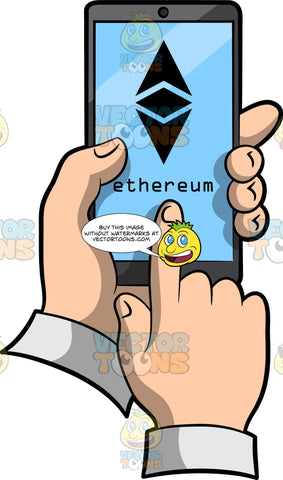 A Phone With An Ethereum Symbol On The Screen