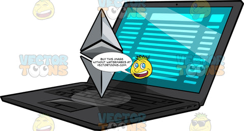 A Laptop With A Floating Ethereum Logo